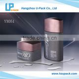 Logo printed frosted black glass bottle and jar luxury cosmetic packaging, screen printing cosmetic packaging