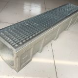 galvanized or stainless steel grating cover with polymer drain trench