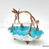 Elegant Dragonfly Design Decorative Fruit Basket With Brass Handle, Floral Painting Blue Porcelain With Brass Fruit Bowl
