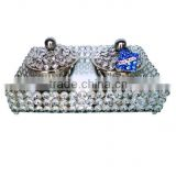 Food grade Crystal serving bowl set with crystal serving tray, Crystal fruit bowl set, Nuts bowl set with lid