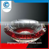 Jingyage wholesale red round crystal glass ashtray big crystal cigar ashtray antique glass ashtray delicate