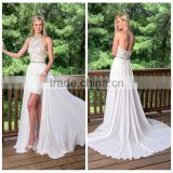 white sexy ladies one piece evening beaded leg open prom dress