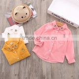 Autumn Children's Boutique Clothing Wholesale Infant Girls Cotton Top Baby corduroy Long Sleeve Ruffle Shirt