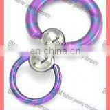 18g up to 4g Double Slave Titanium Captive Ring earrings body piercing jewelry ring