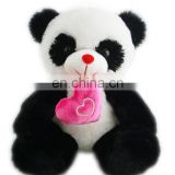 New baby panda plush toy with pink heart soft plush toy for children plush china toy import
