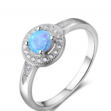 925 Silver Sterling Cubic Zirconia Opal Ring Fashion Jewelry