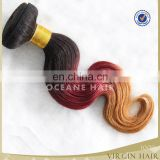 2015 super quality cheapest price hotselling products pure ombre colored three tone hair weave