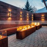 Rectangular Cor-Ten Steel Glass Media Fire Pit with 36 inch Stainless Steel H Burner for Natural Gas