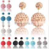 Shamballa two size 8mm 12mm beads earrings cz bling bling rhinestone pave charms stud earrings