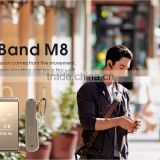 new arrive hot sell intelligent wristband & blutooth headset IP57 waterproof iband M8 mobilephone