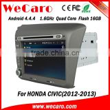 "Wecaro android 4.4.4 car dvd player touch screen 8"" for honda civic dashboard BT gps 3g TV 2012 2013"