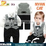 2016 Hot sale Spring Kids Clothes Gentleman baby boy organic cotton fake 2pcs jumpsuits breathable handsome boy kids rompers
