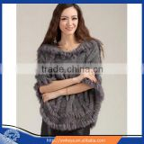 Selling 2016 Hooded woman Knitted fur cape with rabbit fur trim