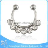 NEW! White Crystal Nose Piercing Rings Jewelry Fake Piercing Septum