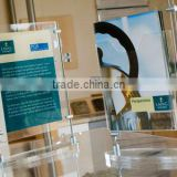 clear desktop acrylic advertising poster with insert paper display stand with metal bar support