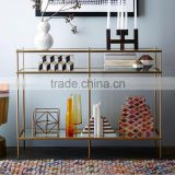 2016 Foshan Factory Supply Natural Glass Golden Stainless Steel Tall Console Table