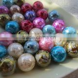 Big 20MM Hottest 2014 New Acrylic Pearl Beads with Flower Print Mix Colorful for Chunky little Girl Necklace Fashion Jewelry