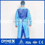 AAMI Level 2 Blue Disposable Nonwoven CPE Impervious Gown With Thumb Ultrasonic Seam