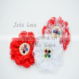Chiffon lace flower- lace pearl and rhinestone flower- lace flower for hair clips