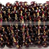 3 Feet Natural Garnet Smooth Rondelle Rosary Style Wire Wrapped Beaded Chain 24k Gold Plated Jewelry Making Beads
