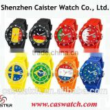 Cheap timepieces candy color jelly watch, world cup national flag face silicone watch, free samples