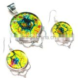 jewelry set 925 handmade jewelry Dichroic Glass earrings necklace