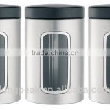 High Quality Stainless steel Window Canister Set /herbs and spices Jars/Stainless Steel Food Storage Spice Jars