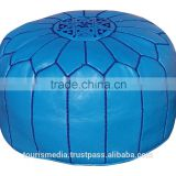 Wholesale of Moroccan light blue leather Pouffe Ottoman Footstool Pouffe handstitched Ottomans