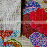 Kantha Bedspread, Handmade Queen Size Kantha Quilt, Designer Kantha Bedding, Indian Cotton Bed Cover