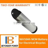 Hangzhou factory,li-ion li polymer bottle battery 36V10Ah for electrical bicycles,scooters with CE, RoHS