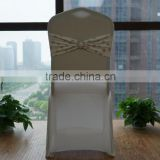 Gold patterns lycra chair band with buckle for banquet                                                                         Quality Choice