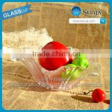 glass fruit tray high white machine pressed microwave safe crystal glass wholesale glass tray