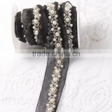 Best quality beautiful handmade low price pearl and beads sew on mesh dress decorative lace trim