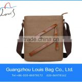 High quality!!!2013 new model mens crazy horse leather handbag,canvas bag with leather trim in Guangzhou