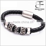 Wrap Braided Leather Mens Skull Bracelet Jewelry Gift with Magnetic Stainless Steel Clasp