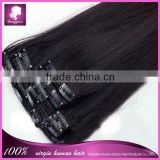 Best selling 100% brazilian human clip in hair extensions for black women