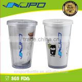 eco friendly hot changing colored plastic disposable cup with lid and straw
