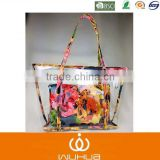 2015 Summer Tide girl new style Sugar jelly transparent shoulder bag with printing flower bag in bag