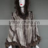 Knit Rabbit & Raccoon Fur Poncho Hooded Real Rabbit and Raccoon Fur Hand Knit Stole Poncho