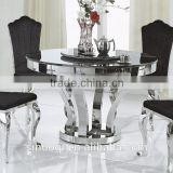 Wholesale Marble Top Round Dining Table Trapezium Design Stainless Steel Leg Dining Table Set