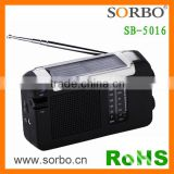 2016 Hot Selling Popular Portable Solar Hand Crank Dynamo Radio With Rechargeable Li-ion Battery