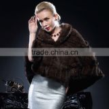 New Design Genuine Brown Knitted Mink Fur Poncho/Cape for Fashion Gilrs Cheap Price Cape