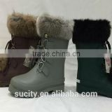 sexy ladies white fur lined waterproof ankle rubber boots with shoelace