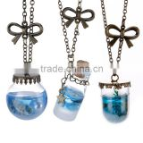 Blue Sea Ocean Glass Bottle Pendant Fashion Bottle Glass Pendant Mermaid Tears Shells Star Vial Necklace