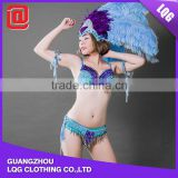 Special design royal blue brazilian handmade feather rhinestone beaded costume carnival