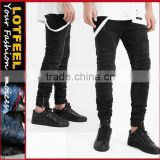 Destroyed biker denim jogger black wash man biker jogger jeans jeans for men black biker jeans(lotbike067)