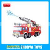 High simulation fire engine toys B/O bump and go Water spray pumper model with light and musical fire fighting toys for boys