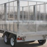 fully hot deep galvanized tipping trailer 3 Ton ,dump wagon, tandem axles with battary oil tank and wire mesh fence