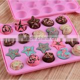 bpa free fda silicone chocolate mould 20 cups lollipop tray mould with heart five star shape