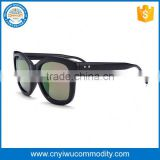 100% uv protect bamboo frame blue mirror polarized film sunglasses with custom logo for men 2016